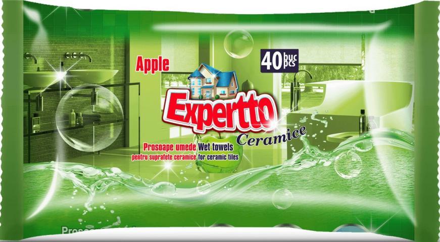 Мокри кърпи за миещи повърх. 40бр ябълка Experto