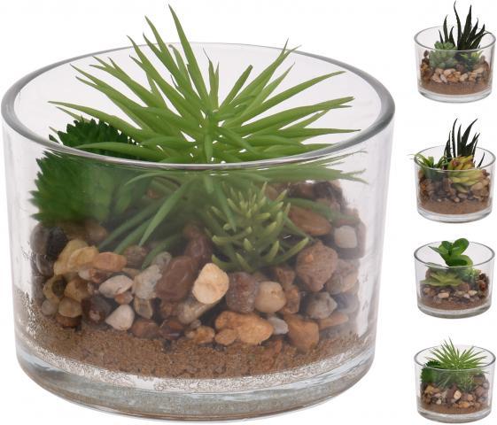 Декоративно зелено цвете в стъкленица