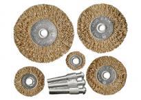 К-т четки за бормашина, 5 бр., плоски 25-38-50-63-75 mm, с опашки, вълнообразна стоманена тел// MTX