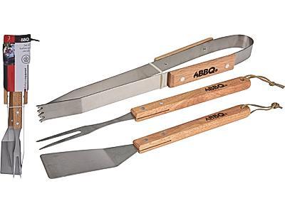 Прибори за BBQ 3бр. с дървени дръжки