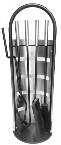 Принадлежност за камини 5 части, неръждаема стомана, черен FT008SB
