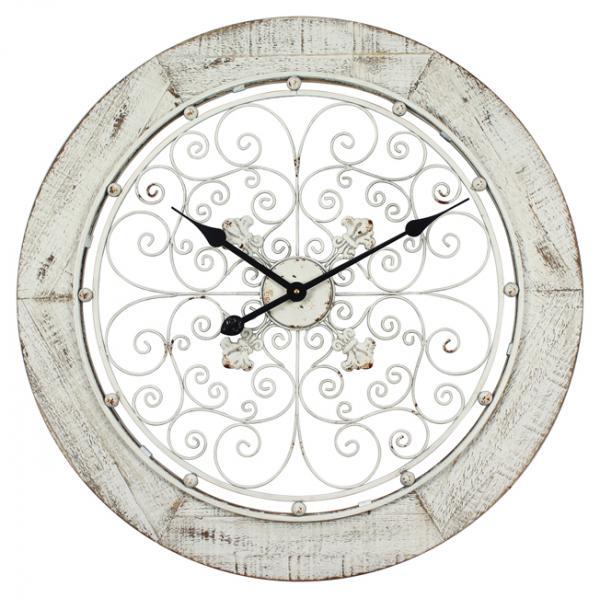 Часовник Метал и МДФ 68см бял