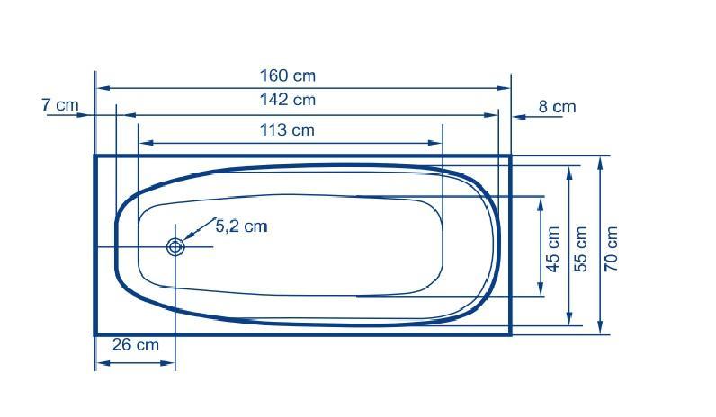 Правоъгълна акрилна вана Linea 160 2