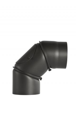 Димоотвод ф130 дъга 0-90° регулируема с вратичка 2мм senotherm® UHT-HYDRO черна