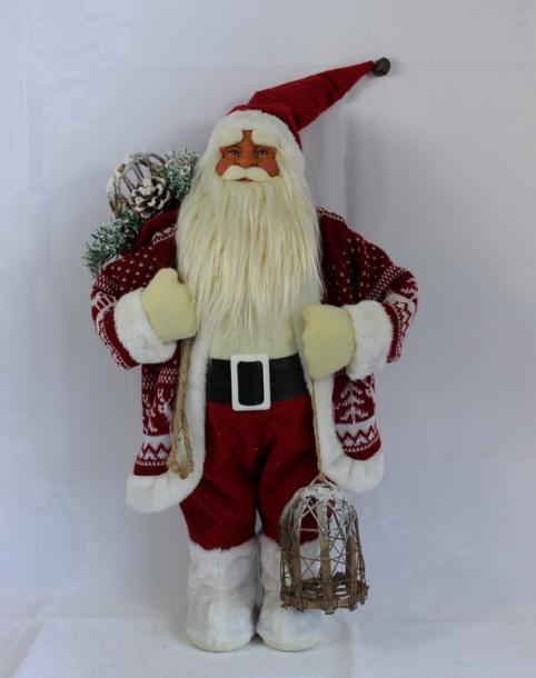 Фигура Дядо Коледа 91см, червен с фенер