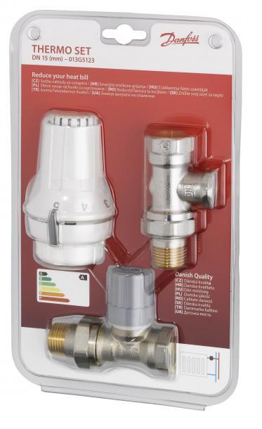 Комплект термостат за радиатори, ъглов и секретен вентил Danfoss