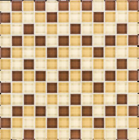 Стъклена мозайка беж/кафяво/жълто 8мм
