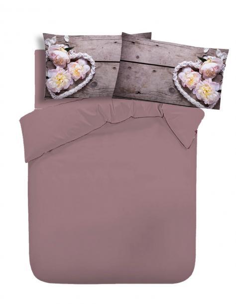 Двоен едноцветен спален комплект хасе с печатани калъфки - лила