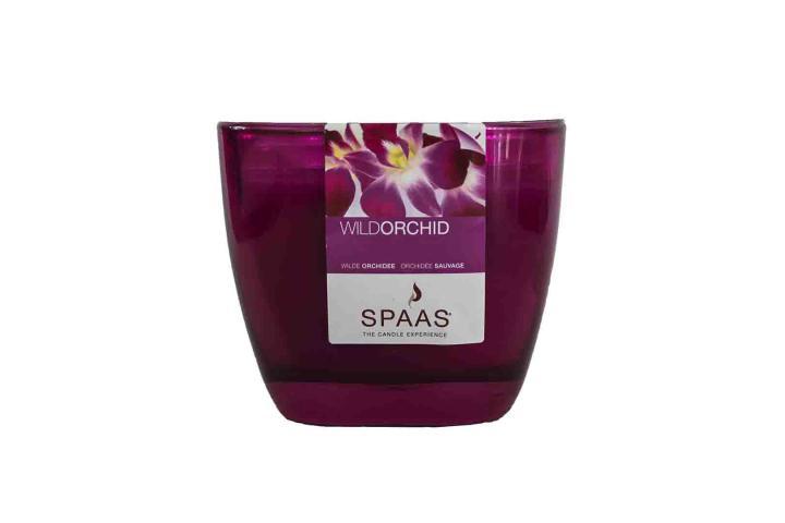 Ароматна свещ в чаша тъмно розов / Дива орхидея