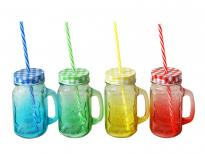Буркан-чаша цветно стъкло с капаче