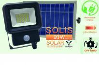 Соларен LED прожектор със сензор 20W  6500K 1400LM 4.4Ah 36ч МАХ