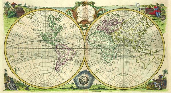 Картина с дървена рамка Premium ''Карта''