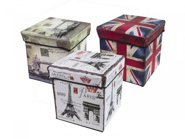 Табуретка кутия сг. кож.Лондон