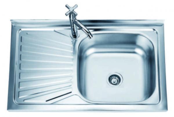 Кухненска мивка  алпака, единична бордова, 50x80 см