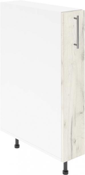 Крафт D14 шкаф с метална бутилиера 15см, дъб крафт бял