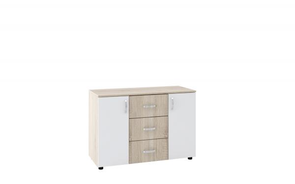 Скрин Дамяна В с три чекмеджета и две врати, дъб сонома/бяло