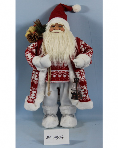 Фигура Дядо Коледа 30см, бяло-червен