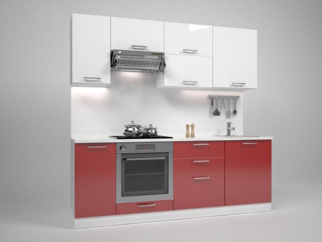 Кухня Трейси 220 см, бяло/червено
