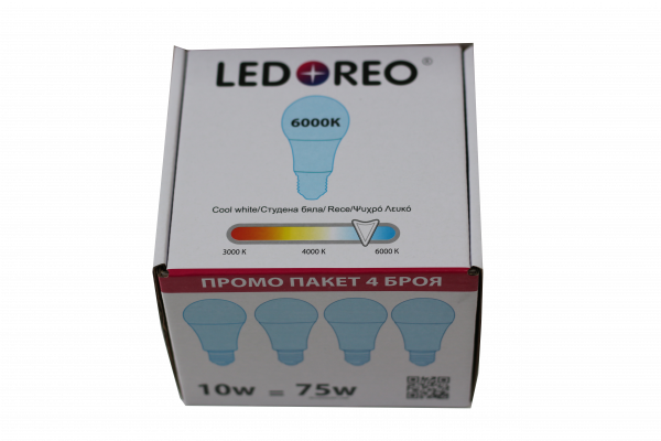 LED крушка 10W E27 6000K - пакет 4 бр