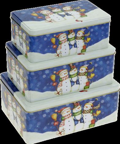 Кутии снежен човек 3бр