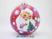 Коледна топка с 6 LED светлини червена 30см