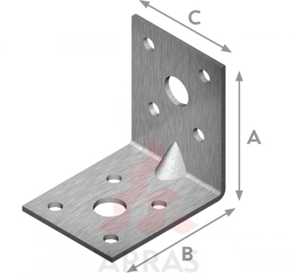 Планка ъглова подсилена равнораменна 90х90х65 х2.5/6