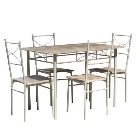 Комплект маса с 4 стола, цвят дъб 3