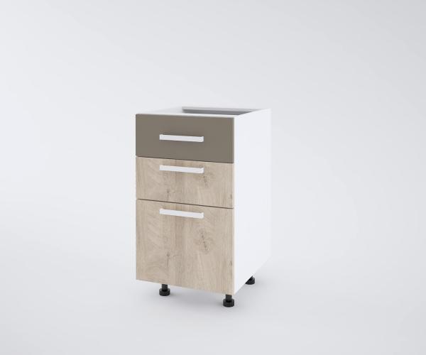 Urban долен шкаф с две плитки и едно дълбоко чекмеджета 50см, лате