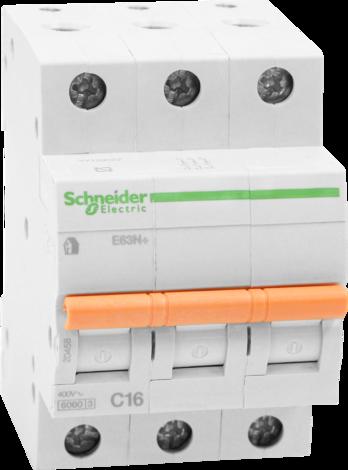 Автоматичен прекъсвач Schneider Е60N+ 3P 16A C
