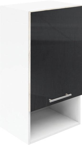 Крафт G3 горен с една врата и ниша 40см, черен гланц