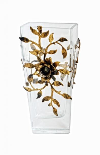 Ваза стъкло/метал, 29.5Х13.5 см