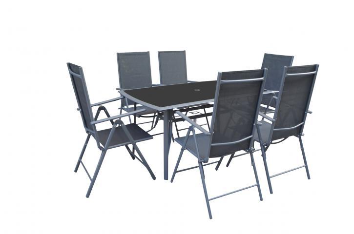 Градински стол MATERA мултипозиционен, черен 2