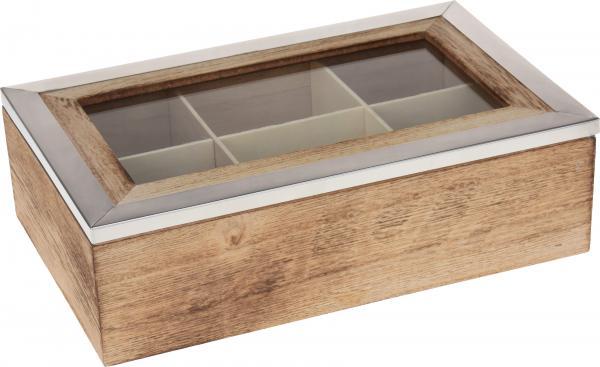 Дървена кутия за чай с метална рамка