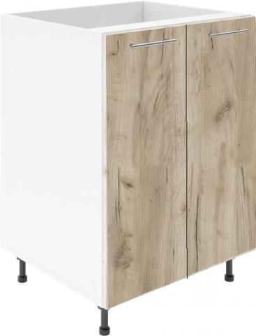 Крафт D6 долен шкаф с две врати (за мивка) 60см, дъб крафт сив