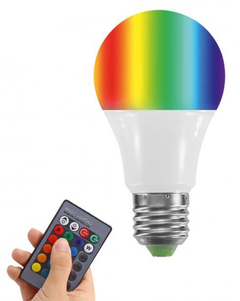 LED кушка 10W A70 RGB+3000K IP44 с дистанционно управление