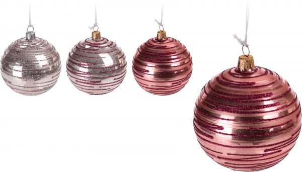 Стъклена топка 6 см розови нюанси