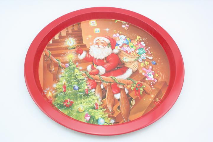 Коледен поднос, метален, 33 см