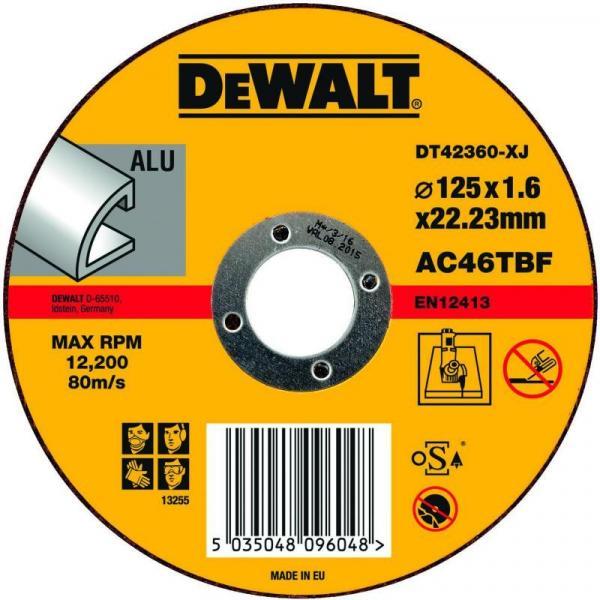 Абразивен диск за рязане алуминий DeWalt 125мм