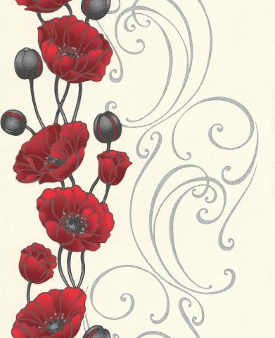 Тапет Винил Палитра червени цветя