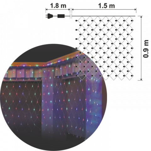 Светеща мрежа IN 1.5x0.9м, 160 разноцветни LED