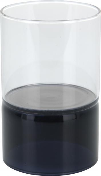Свещник стъклен черен 10см