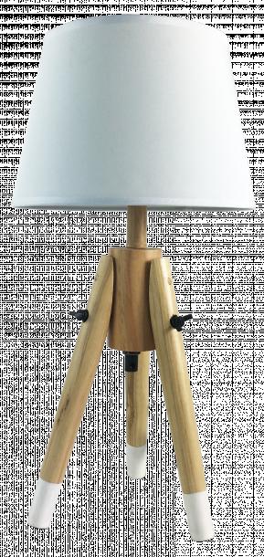Настолна лампа Талпи с дървени крака, цвят бял