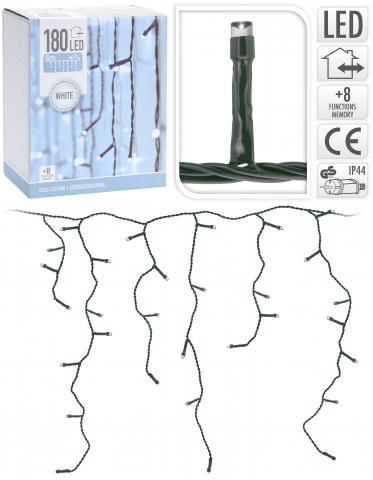 Светеща завеса Ледена висулка OUT 180 LED студено бяла светлина