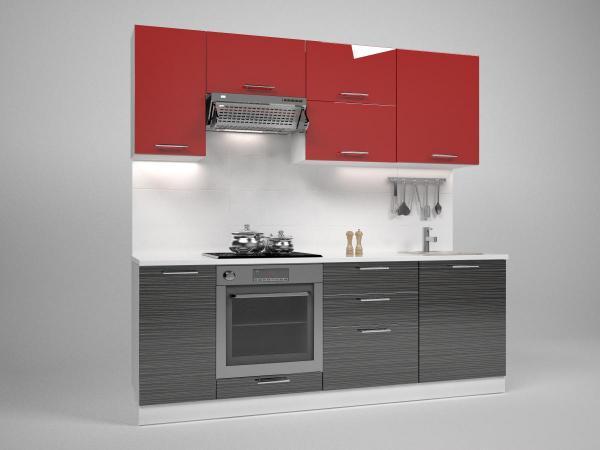Кухня Трейси 220 см, червено/черено