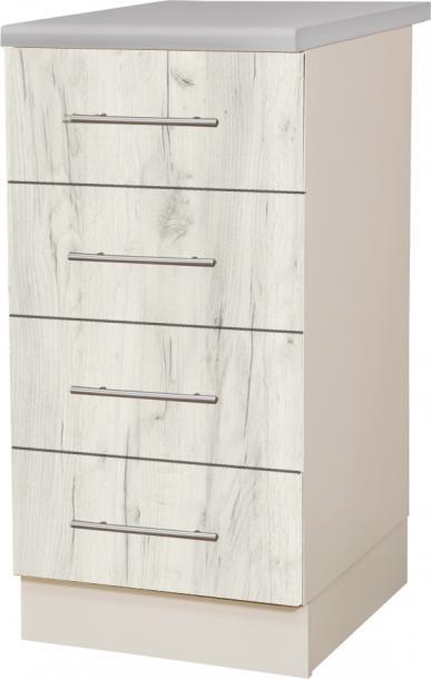 Крафт D4 долен шкаф с четири чекмеджета 40см, дъб крафт бял